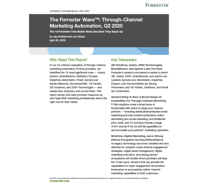 Forrester Through-Channel Marketing Automation Q2 2020 Report