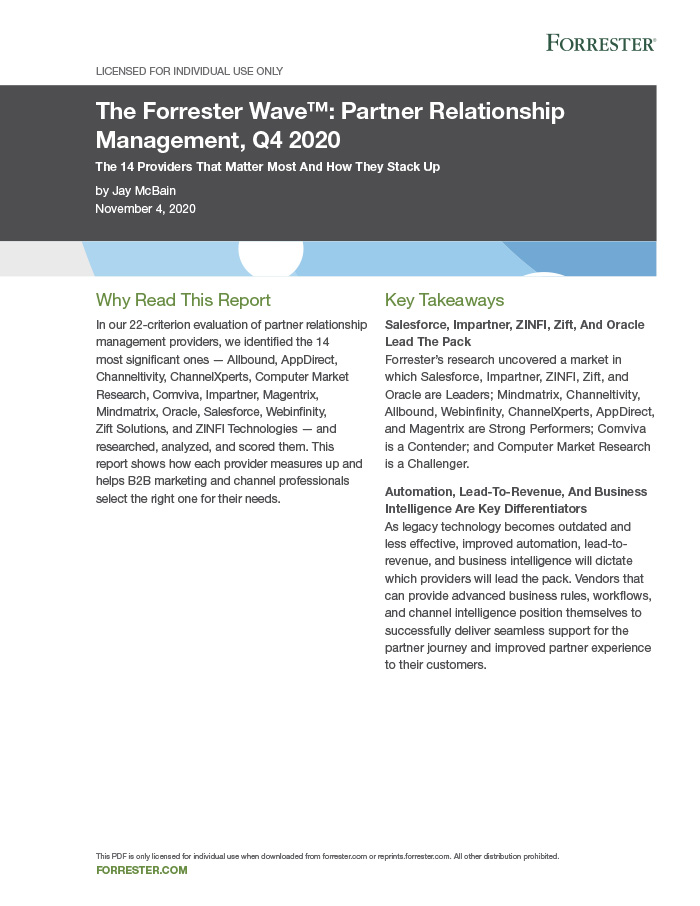 Partner Relationship Management Forrester Wave 2020
