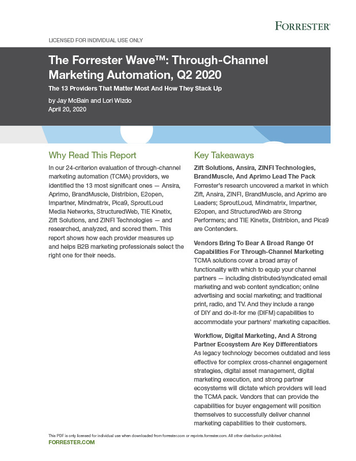 Through Channel Marketing Automation Forrester-wave 2020